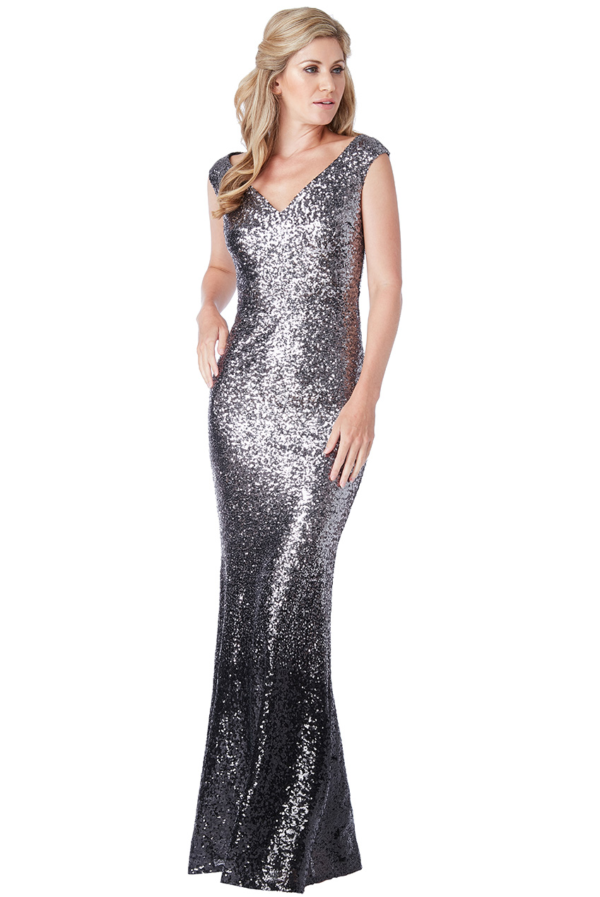 Wholesale Stephanie Pratt - Sequin and Chiffon Ombre Maxi Dress
