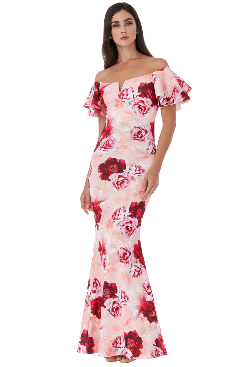 Wholesale Off The Shoulder Floral Maxi Dress with Ruffled Sleeves
