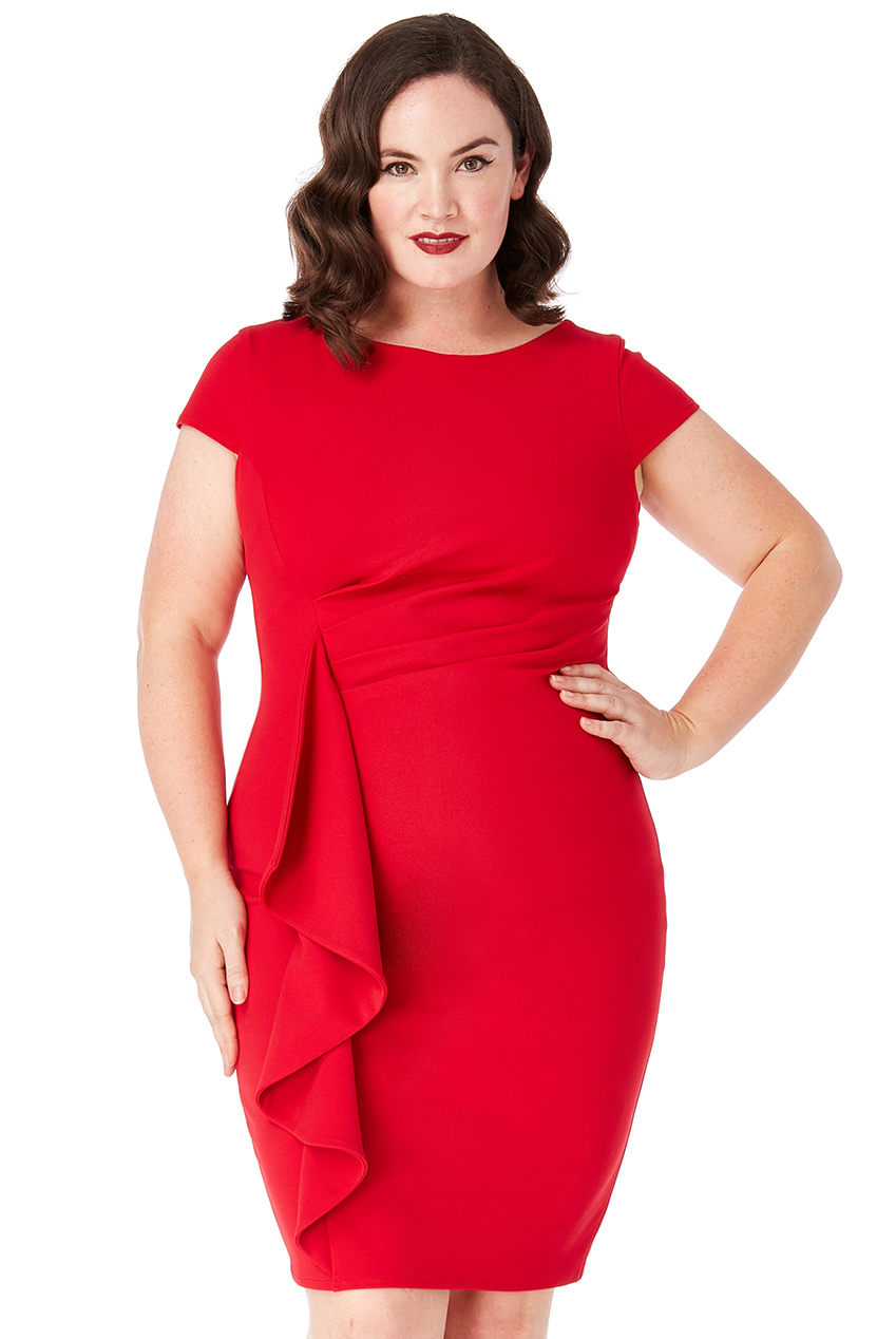 Wholesale Plus Size Front Frill Midi Dress
