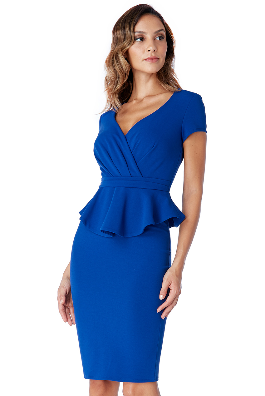 Wholesale Peplum Short Sleeve Midi Dress