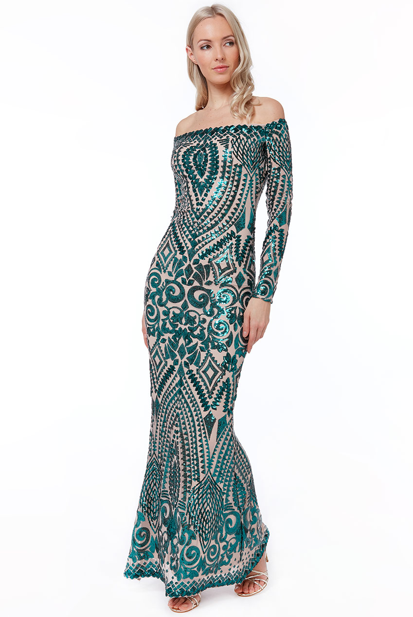 Wholesale Off The Shoulder Long Sleeve Sequin Maxi