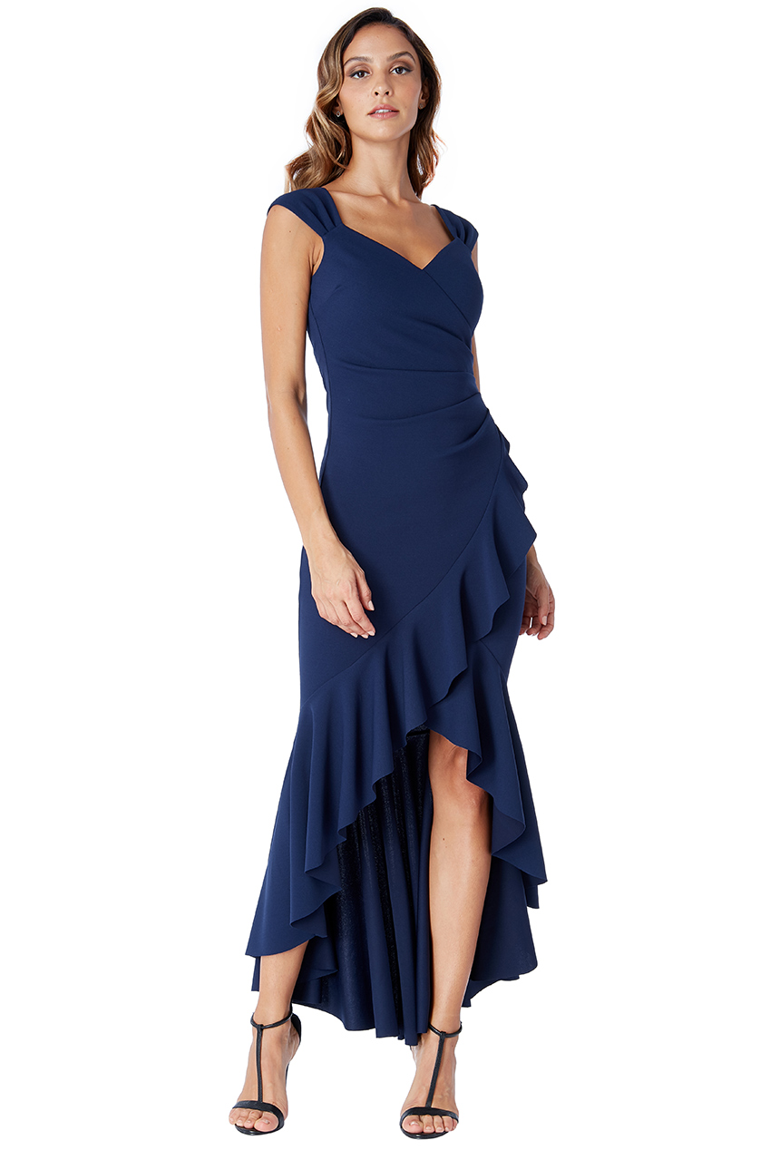 Wholesale High Low Frill Hem Maxi Dress