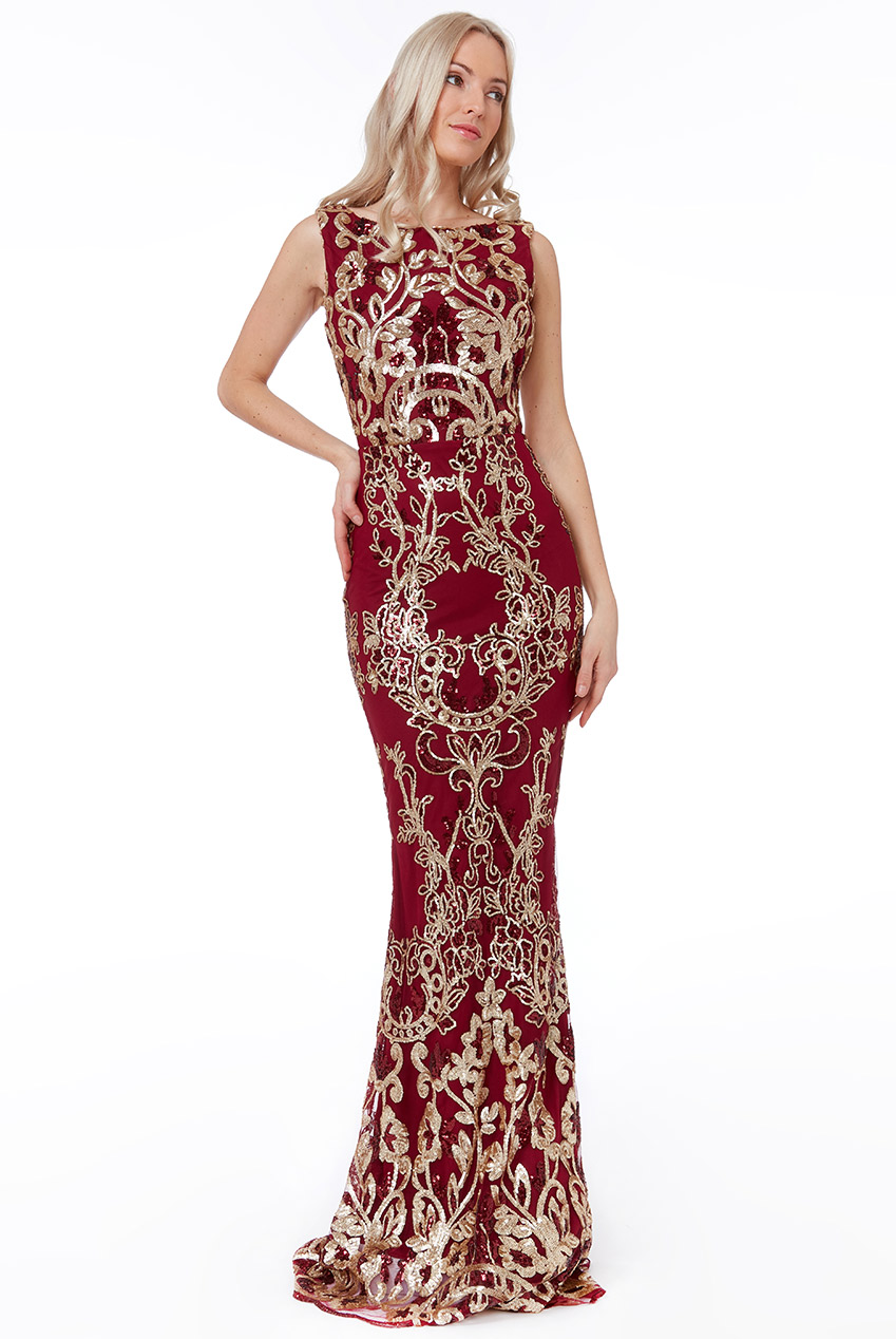 Wholesale Stephanie Pratt - Sequin Maxi Dress with Scalloped Hem