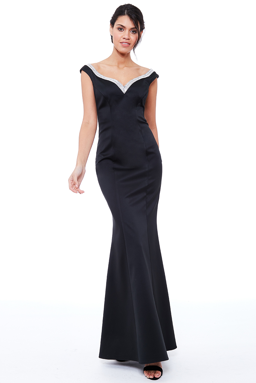 Wholesale Diamante Neckline Maxi Dress