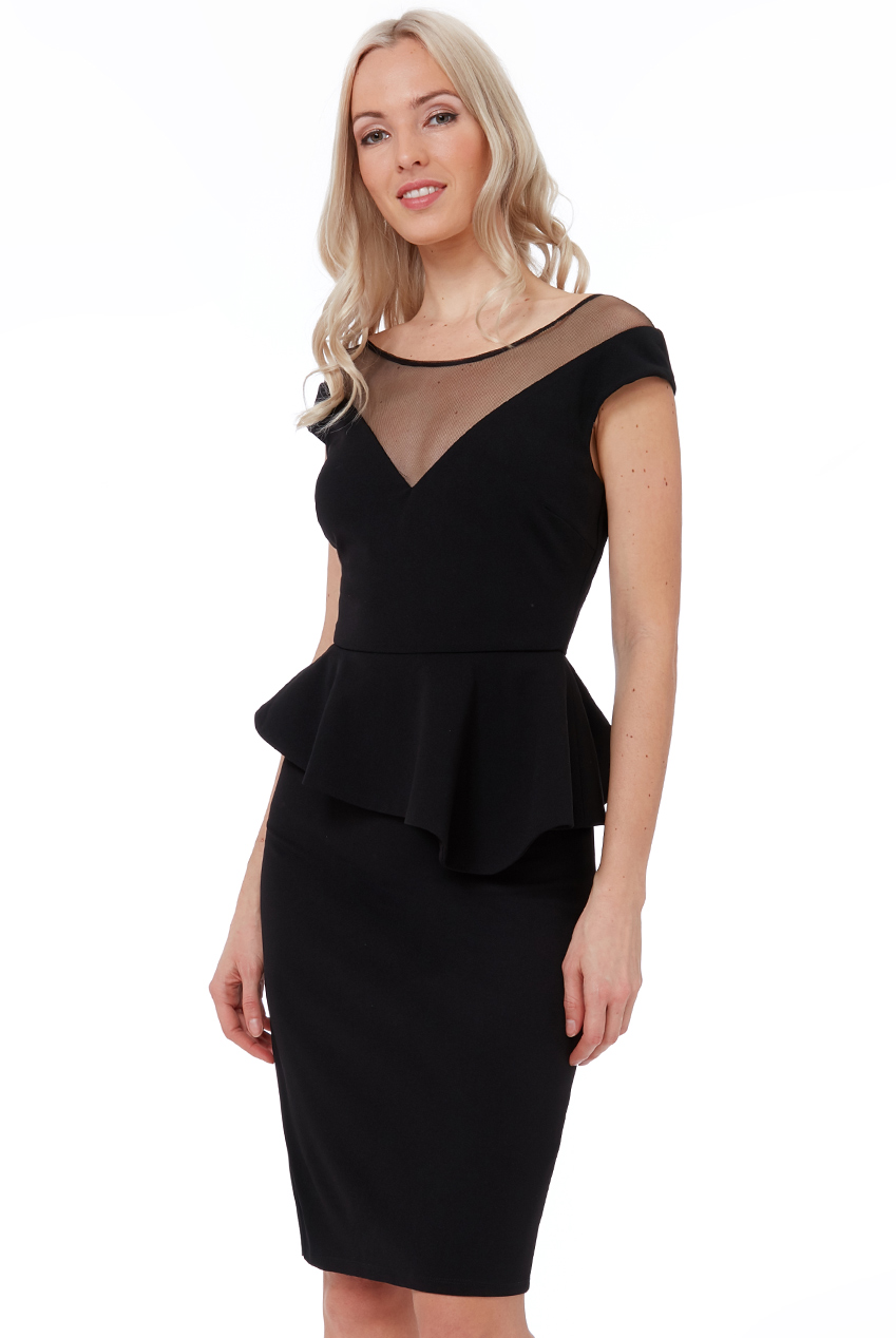 Wholesale High Low Peplum Midi Dress