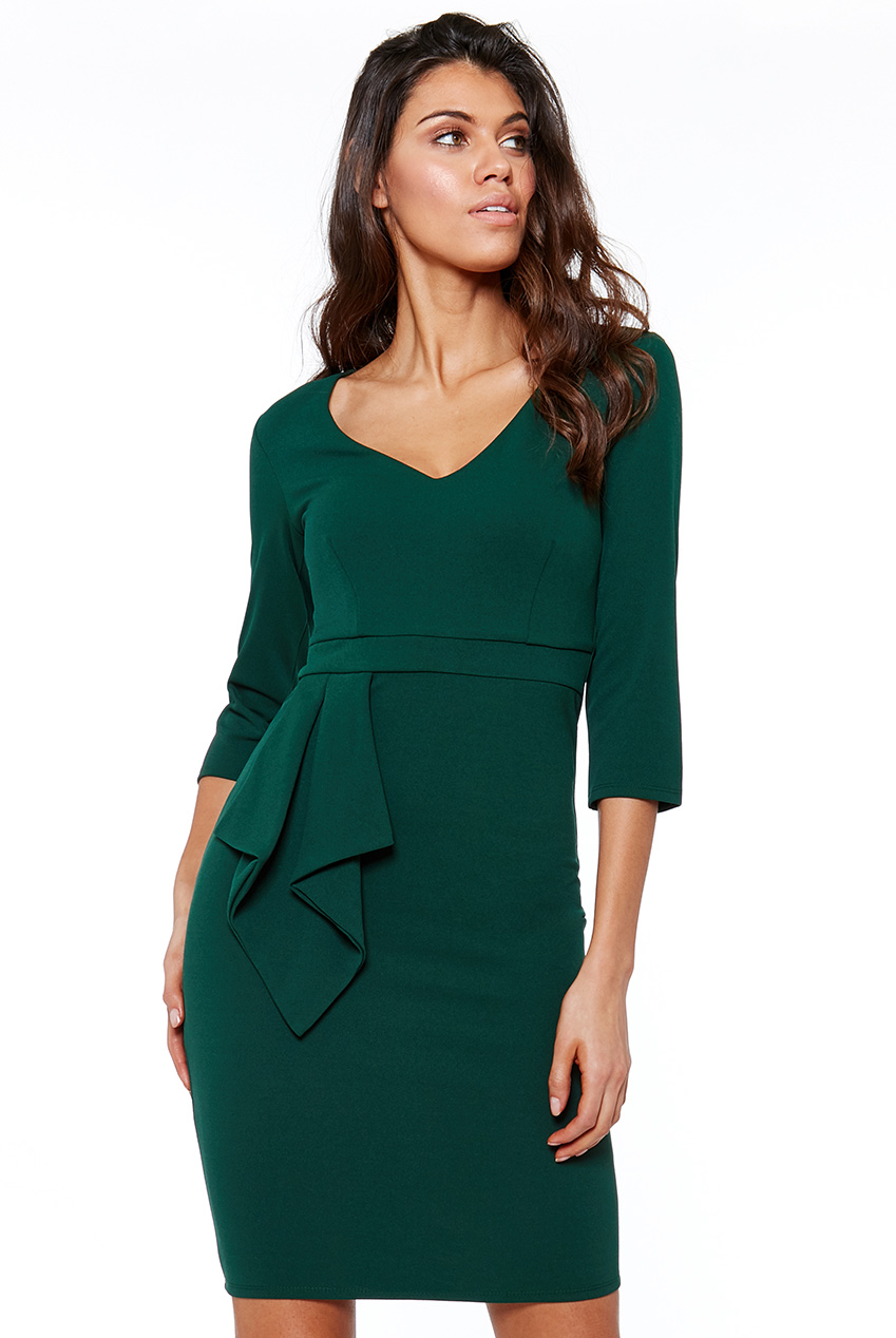 Wholesale Three Quarter Sleeve Midi Dress with Frill