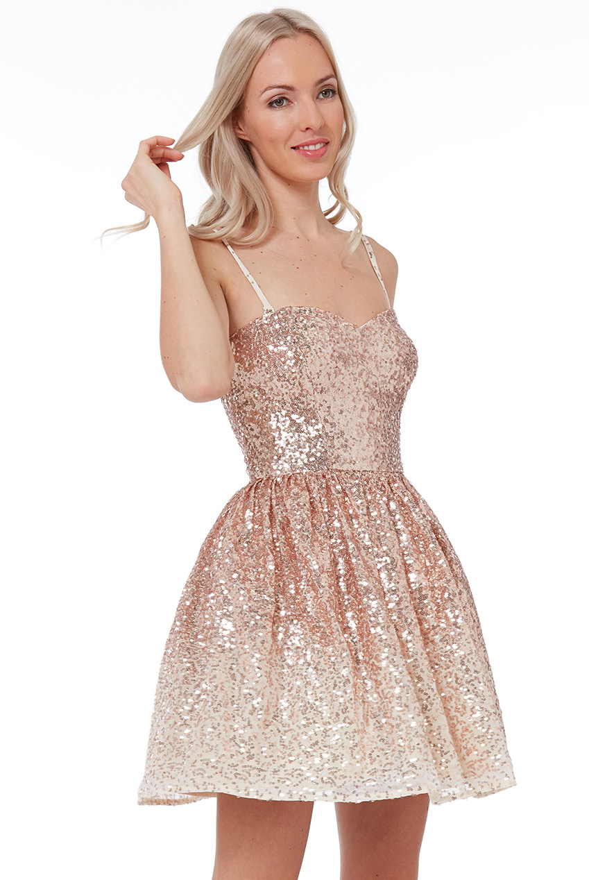 Wholesale Spaghetti Strap Sequin and Chiffon Mini Skater Dress