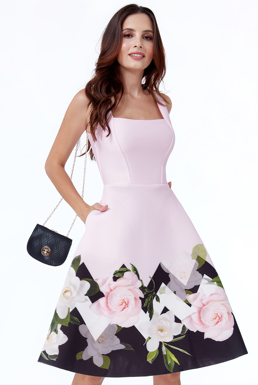 Wholesale Petite Floral Hem Skater Dress