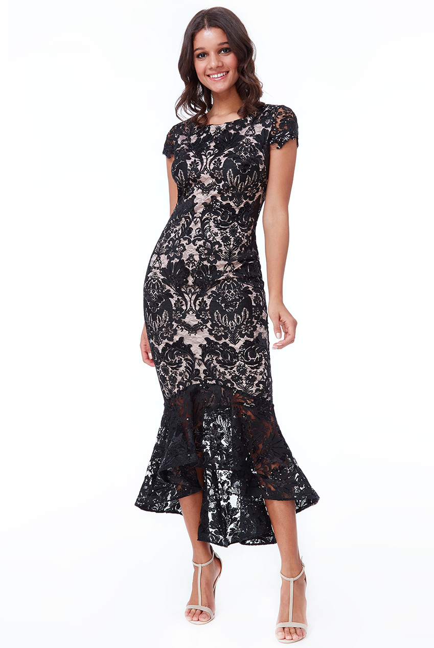 Wholesale Lace High Low Maxi Dress