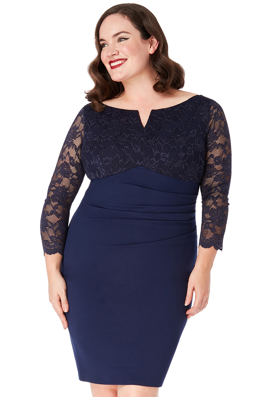 Wholesale Plus Size Lace Top Midi Dress