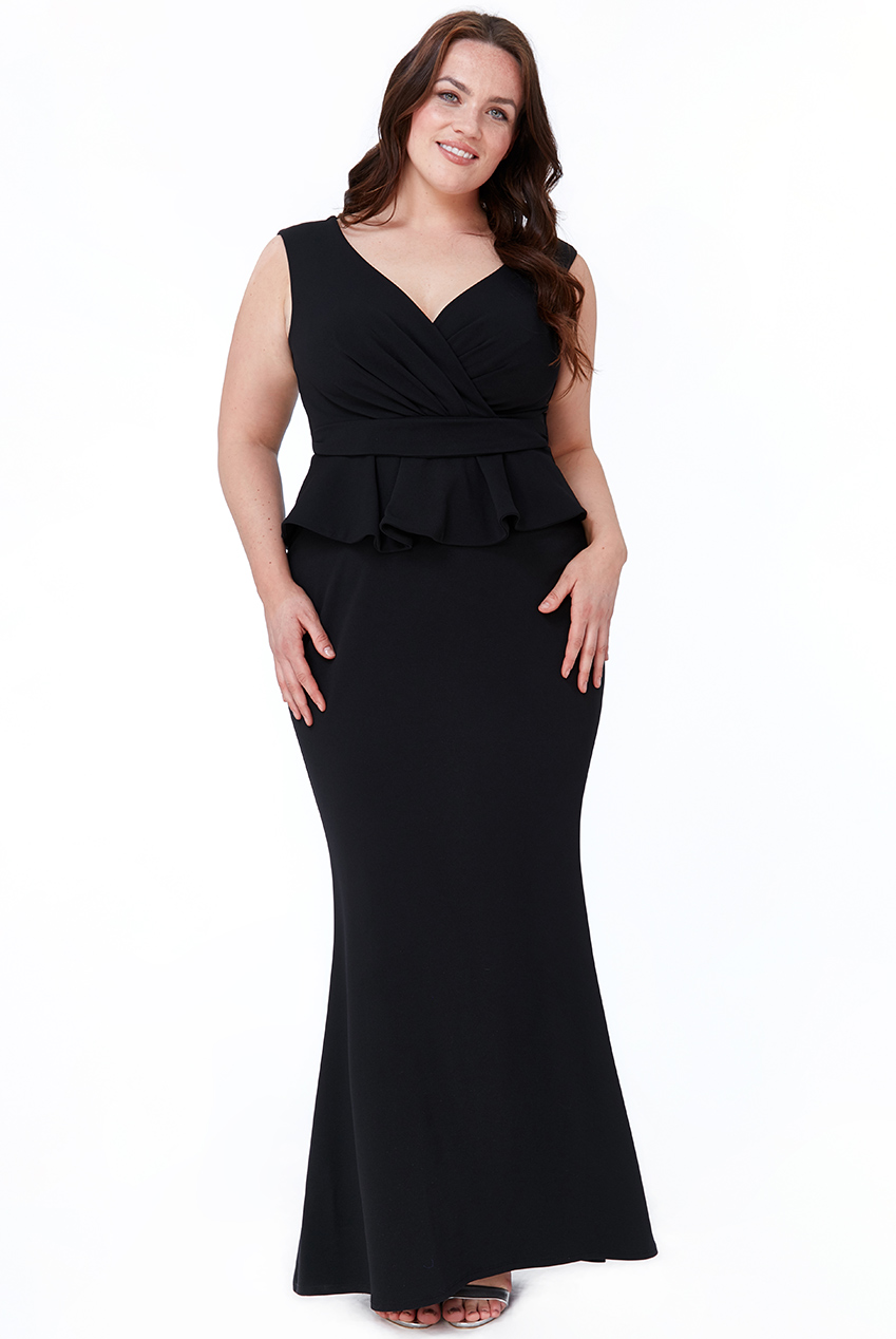 Wholesale Plus Size Cross Over Peplum Maxi Dress