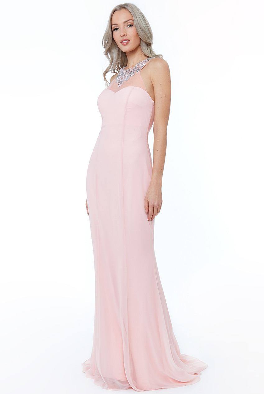 Wholesale High Neck Embellished Maxi Dress