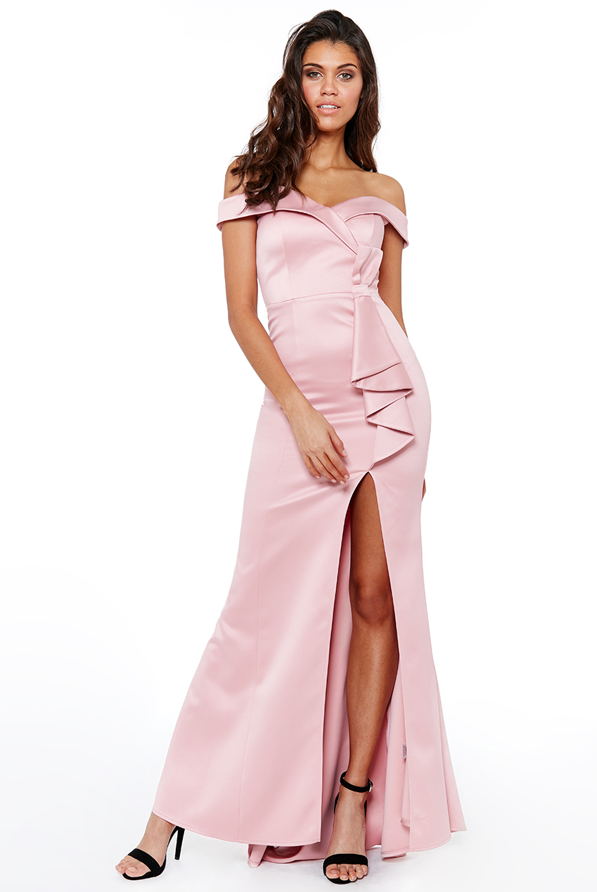 Wholesale Satin Bardot Bow Maxi Dress