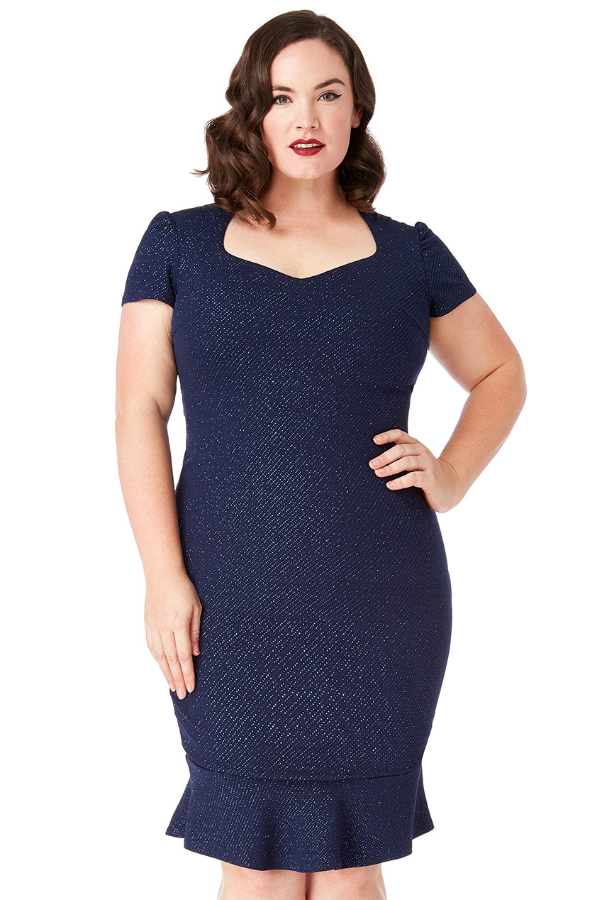 Wholesale Plus Size Fitted Short Sleeve Glitter Midi with Frill Hem