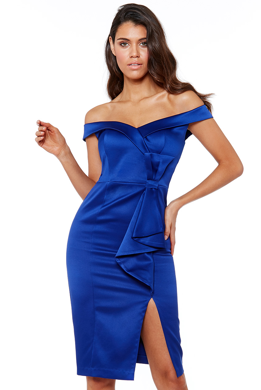 Wholesale Satin Bardot Bow Midi Dress
