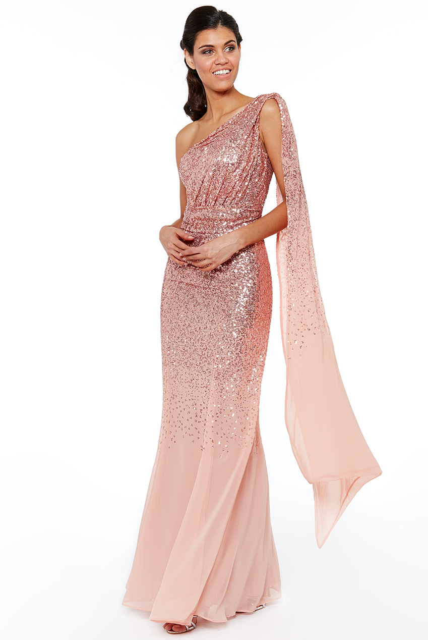 Wholesale One Shoulder Sequin and Chiffon Maxi Dress
