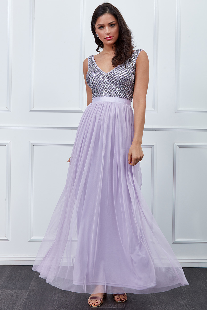 Wholesale Sequin Bodice Pleated Maxi Dress
