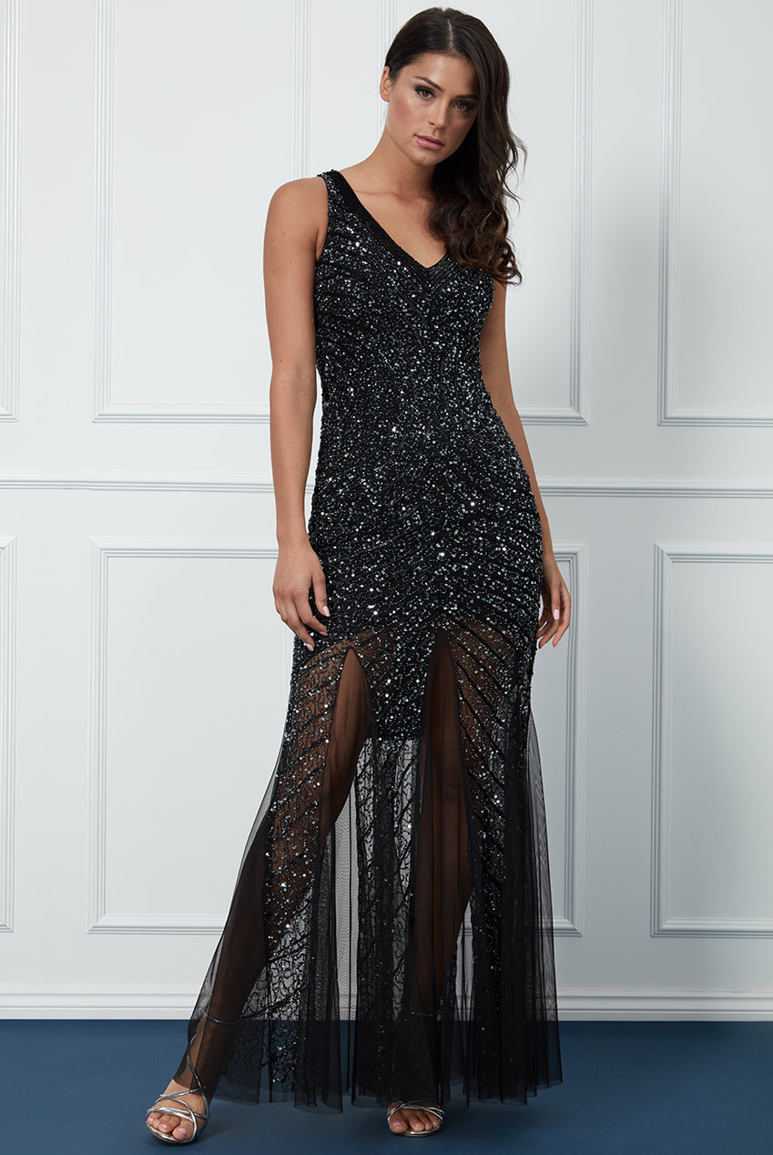 Wholesale Hand Embellished Sequin Star Shine Evening Maxi Dress