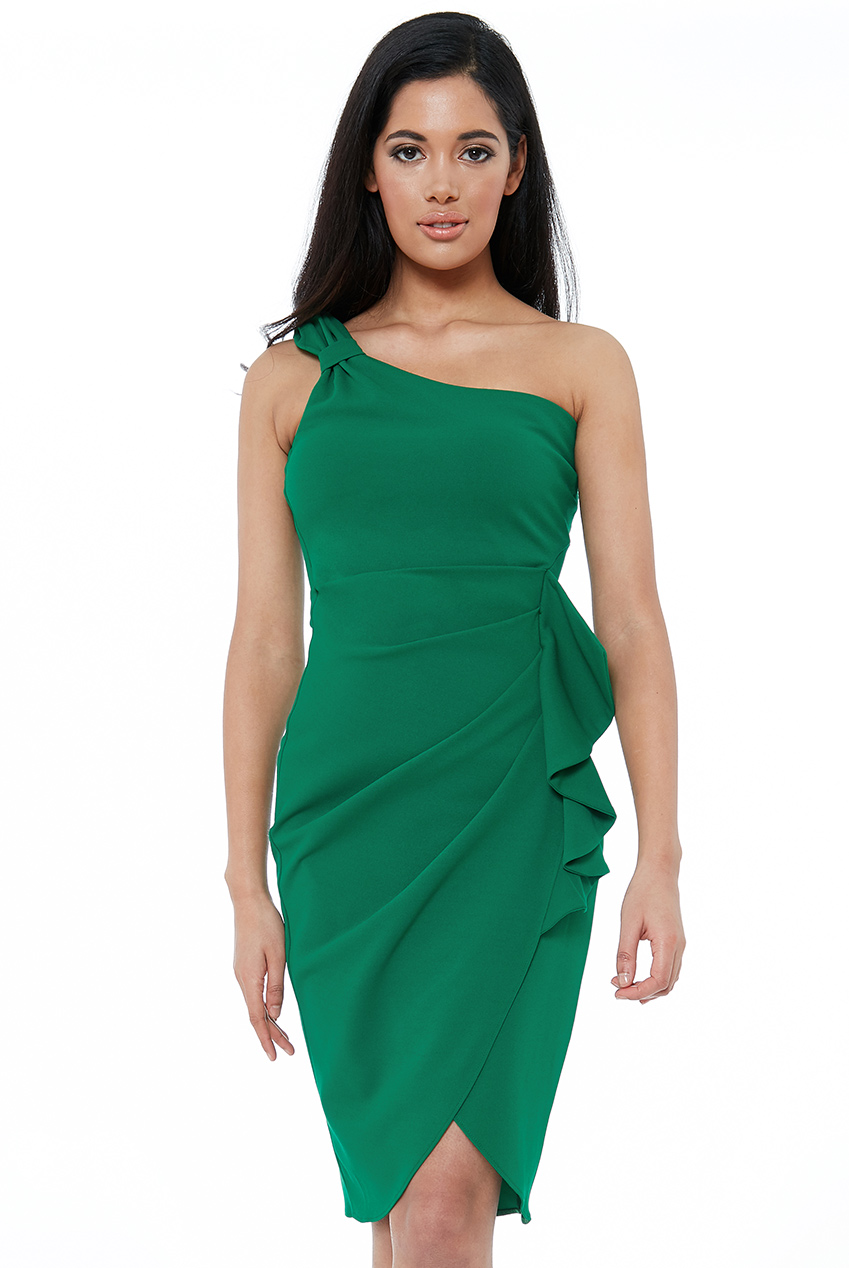 Wholesale Asymmetric Ruffle Pencil Midi Dress
