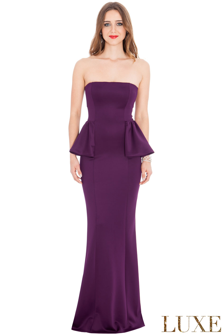 Wholesale Peplum Strapless Dress in the style of Jennifer Lawrence