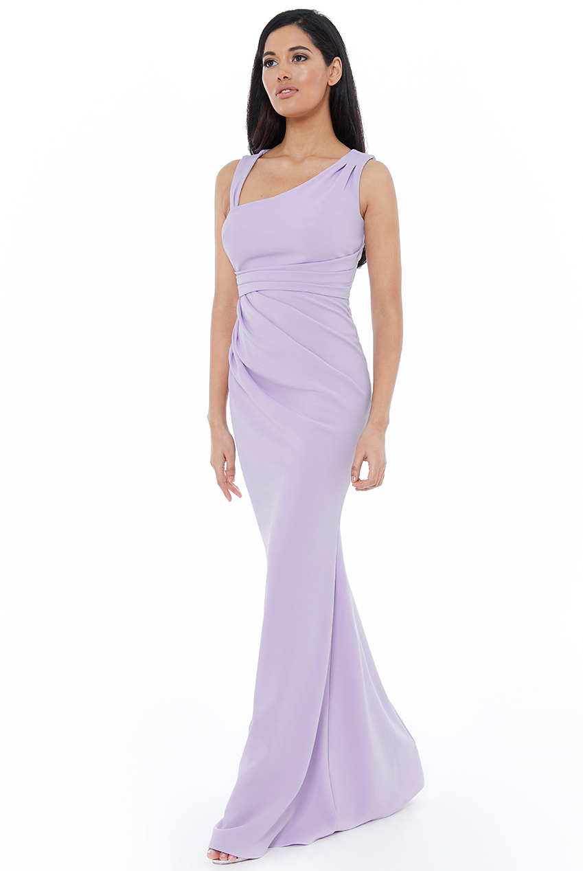 Wholesale Asymmetric Pleated Maxi Dress