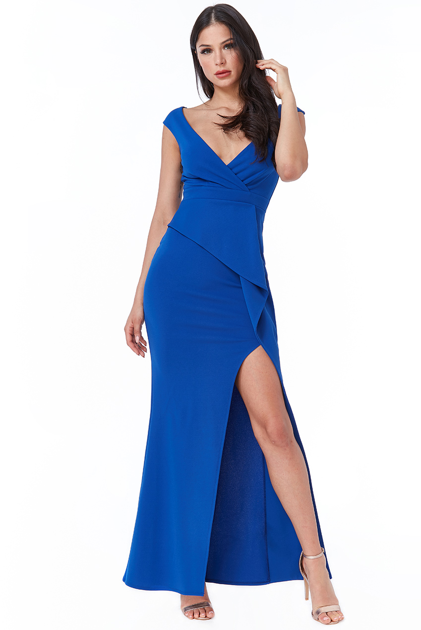 Wholesale Folded Peplum Maxi Dress