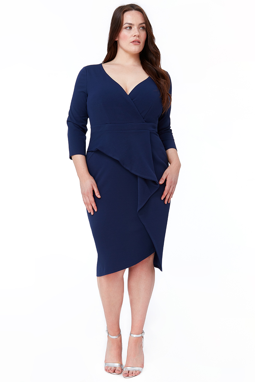 Wholesale Plus Size Cross Over Midi Dress with Fold Over Detail