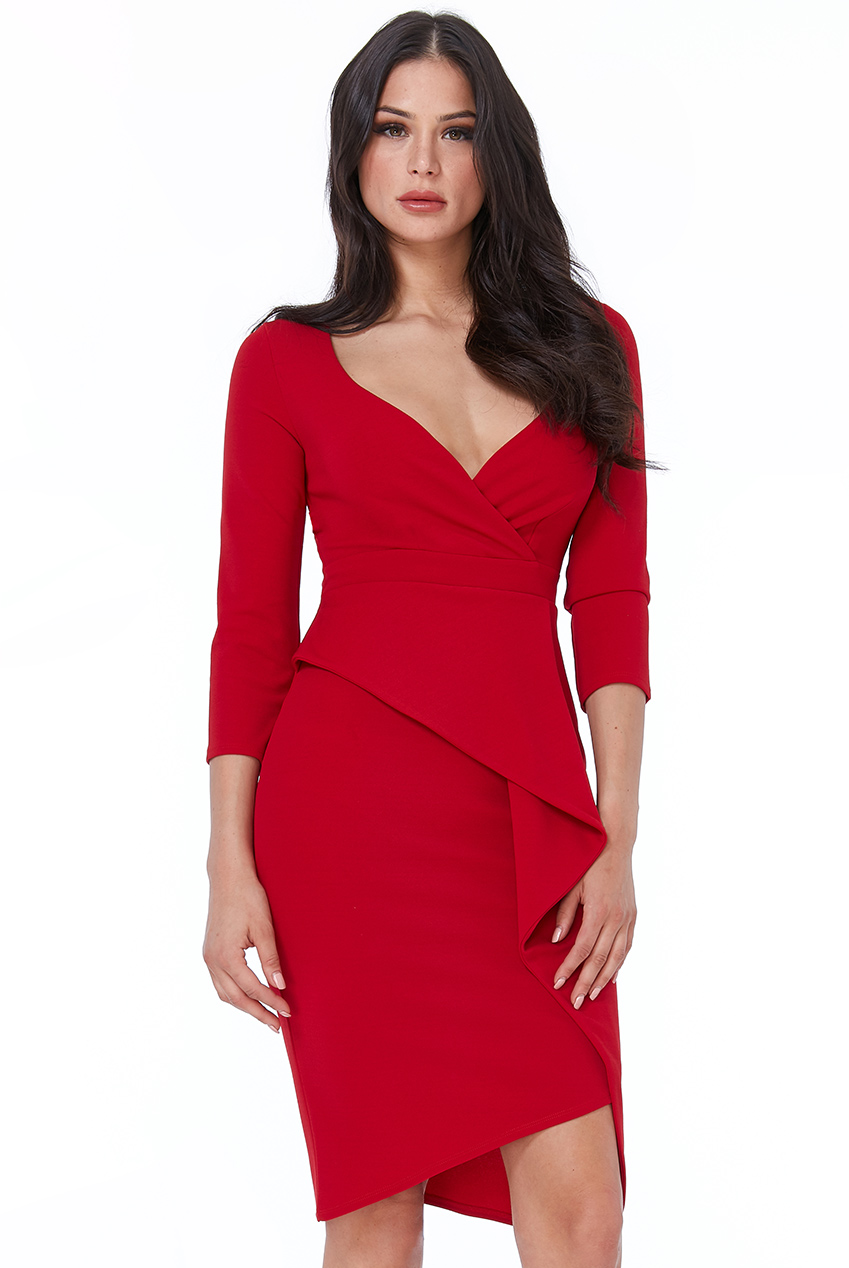 Wholesale Cross Over Midi Dress with Fold Over Detail