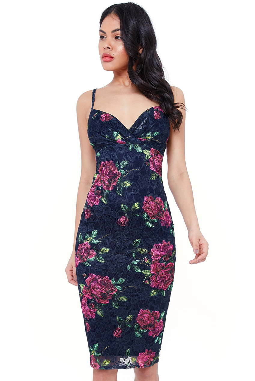 Wholesale Pleated Bust Floral Midi Dress