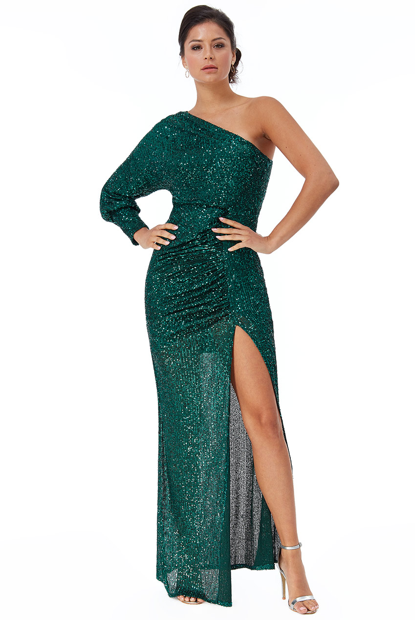 Wholesale One Sleeve Sequin Maxi Dress