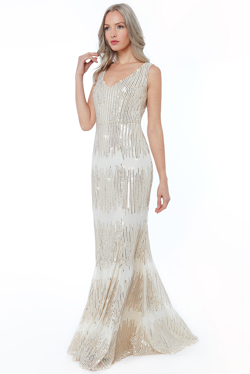 Wholesale Sequin V Neck Maxi Dress