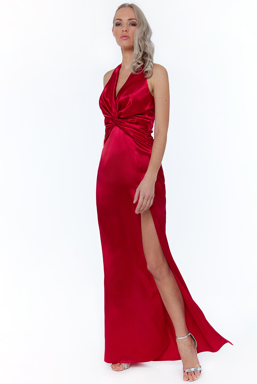 Wholesale Satin Knot Front Halter Neck Maxi Dress
