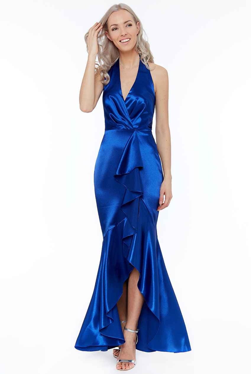 Wholesale Satin Halterneck with Frill Maxi Dress