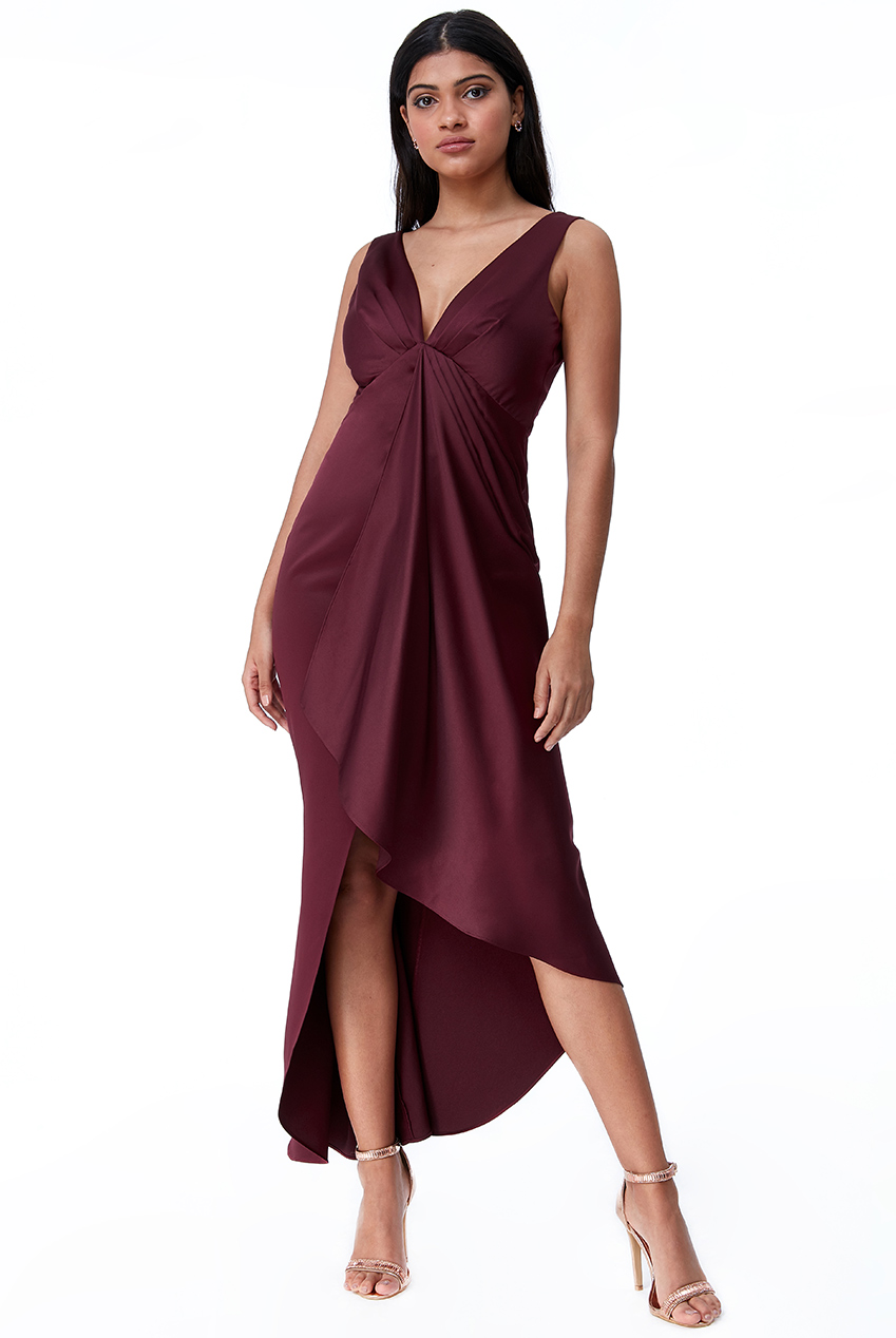 Wholesale Waterfall Satin Maxi Dress
