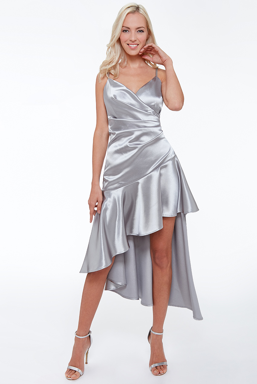 Wholesale High Low Pleated Satin Midi Dress