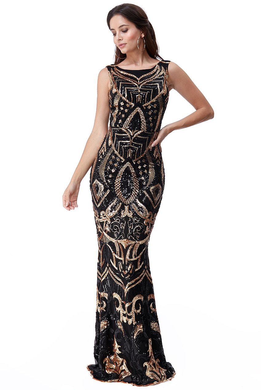 Wholesale Sequin Embroidered Maxi Dress