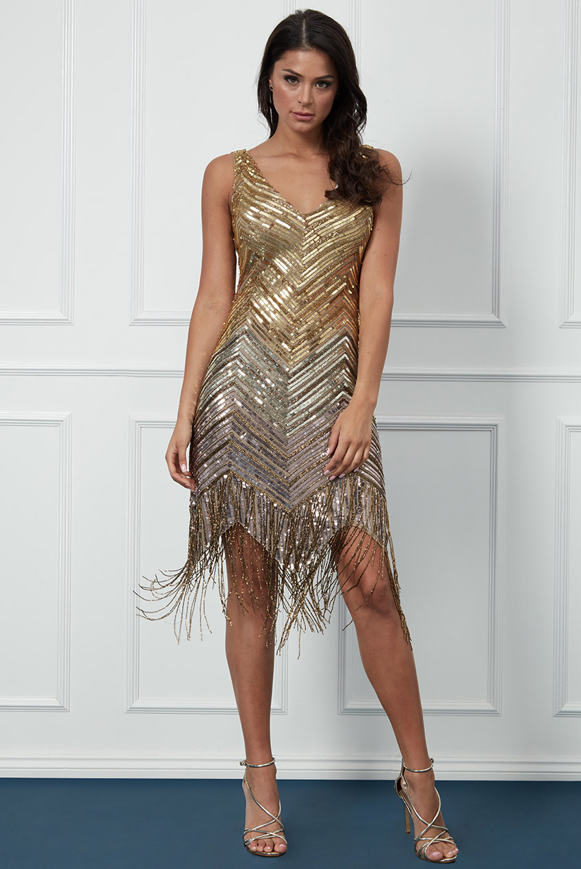 Wholesale Hand Embellished Ombre Sequin and Fringe Midi Dress