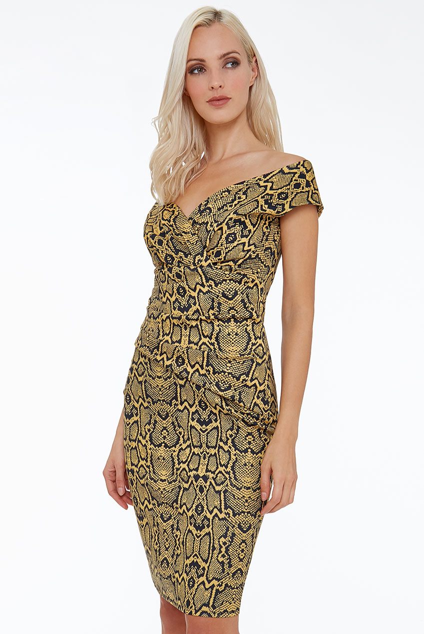 Wholesale Snake Print Bardot Midi Dress
