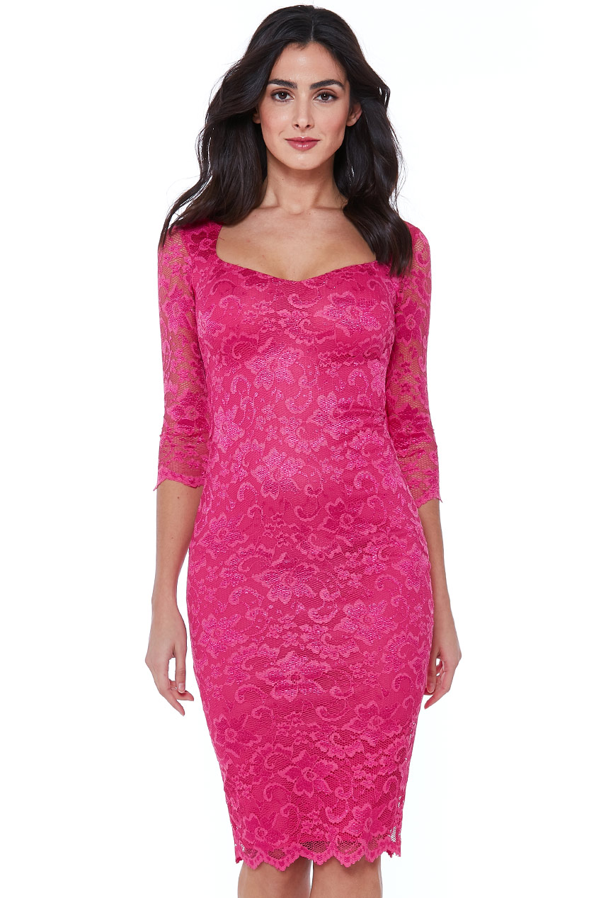 Wholesale Sweetheart Lace Midi Dress