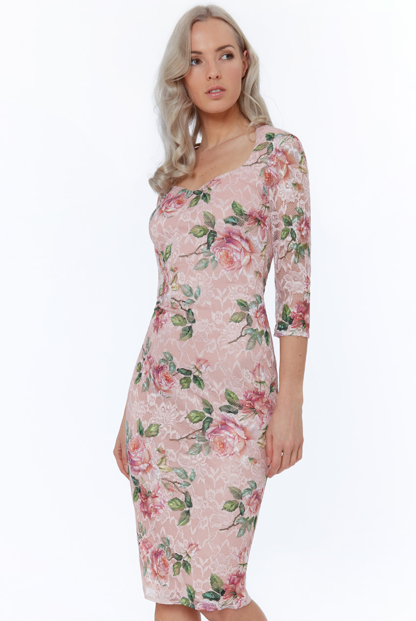 Wholesale Floral Three Quarter Sleeve Midi Dress