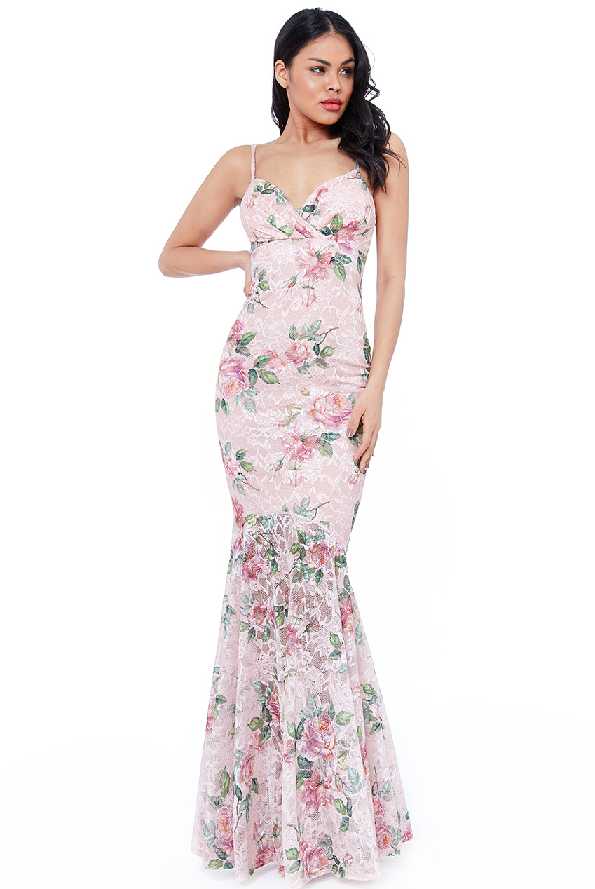 Wholesale Pleated Bust Floral Maxi Dress