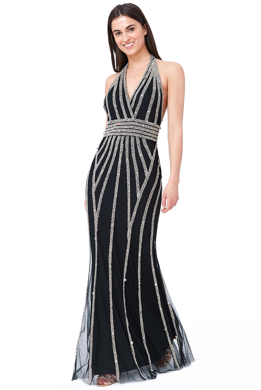 Wholesale Halter Neck Hand Embellished Maxi Dress
