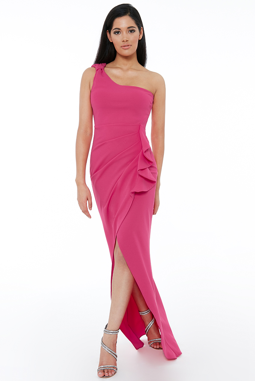 Wholesale One Shoulder Maxi with Frill Pleat