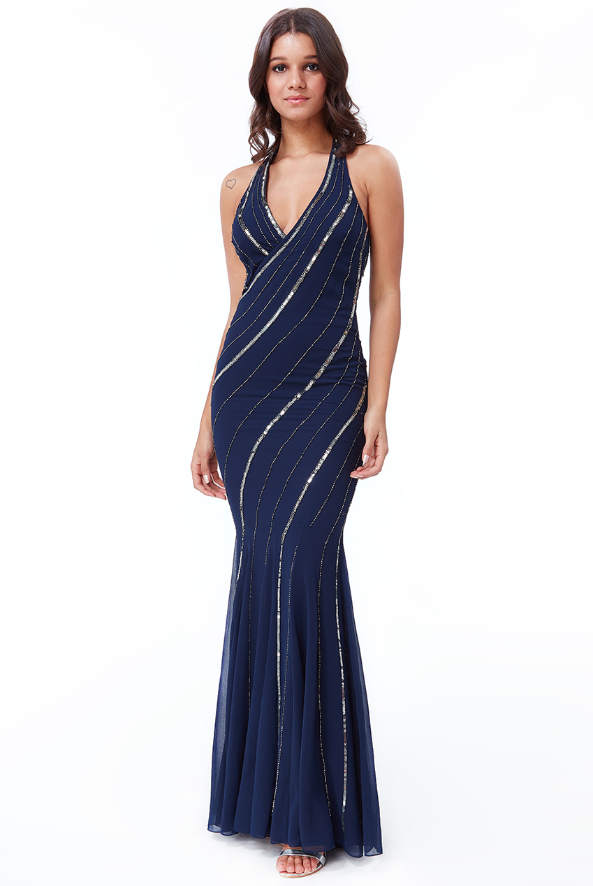 3a35e3740003b Wholesale Hand Embellished Sequin Halter Neck Maxi Dress - City Goddess