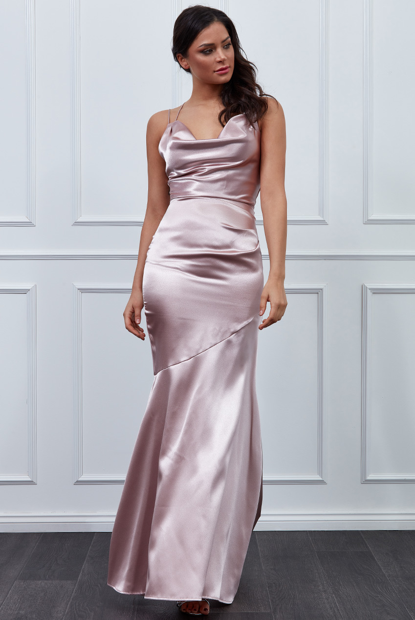 Wholesale Vicky Pattison – Cowl Neck with Strappy Back Satin Maxi Dress