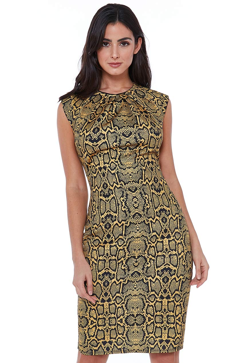 Wholesale Snakeprint  Bodycon Midi Dress