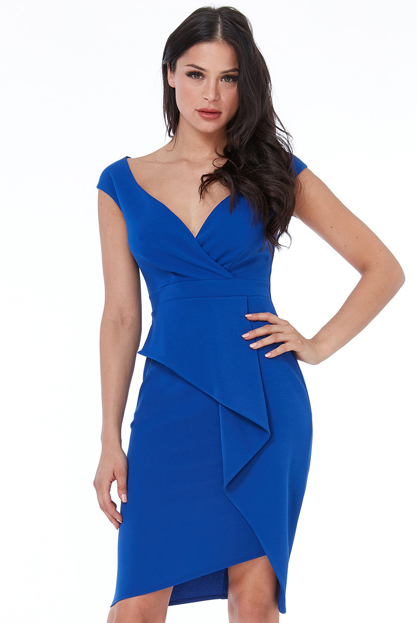 Wholesale Folded Peplum Midi Dress