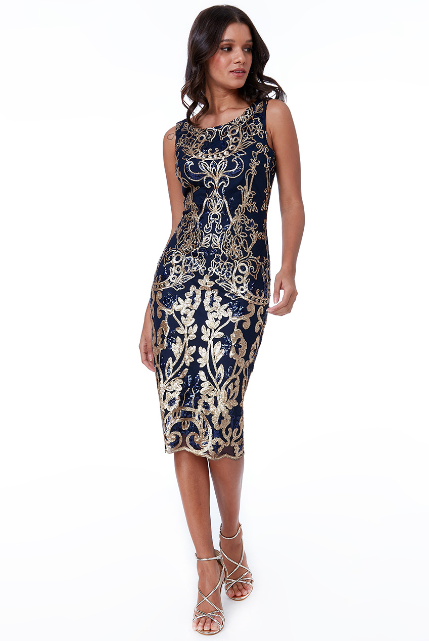 Wholesale Scalloped Hem Sequin Embroidered Midi Dress