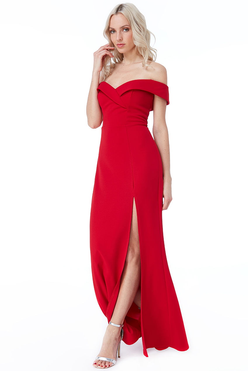 Wholesale Bardot Front Split Maxi Dress