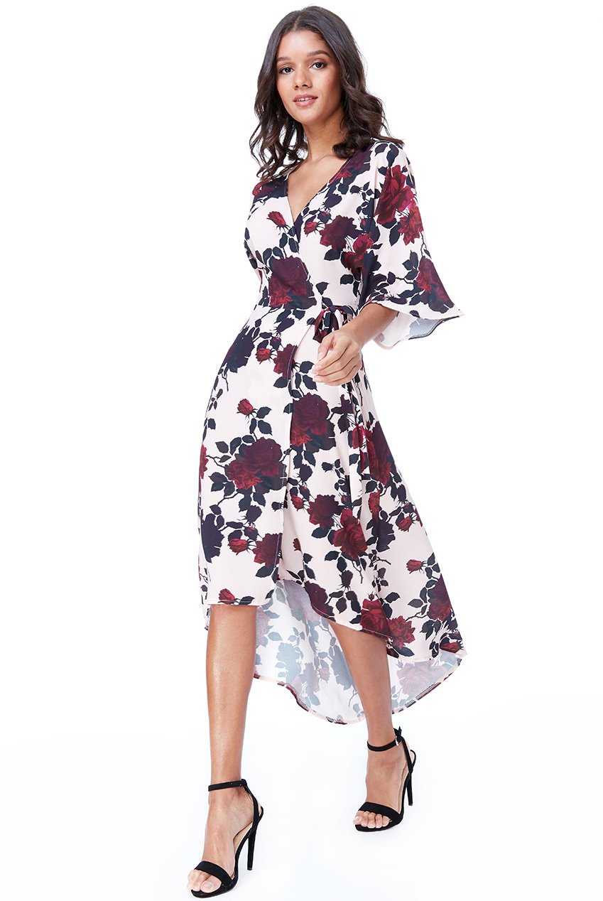 Wholesale Wrap Over Kimono Midi Dress